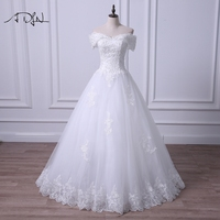 ADLN Off The Shoulder Wedding Dress 2018 A Line Sweep Train Simple Lace Bridal Gown Customized