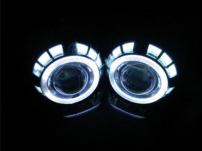 ФОТО Professional Blue Light Bi-Xenon 3 inch HQI Projector HID Lens Light H1 +Double Angel Eyes For Car Light