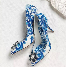 Women high heels Fashion Luxury Crystal Wedding Shoes blue and white porcelain green rhinestone pointed toe Slip-on dress shoes