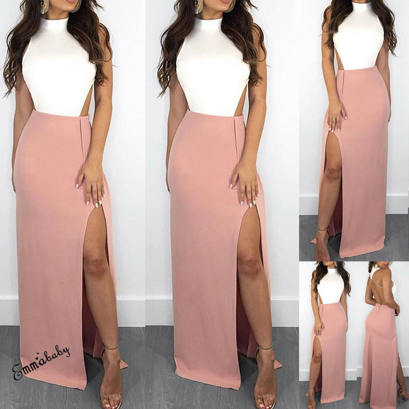 Fashion Casual Women's Ladies Sleeveless Dresses Maxi Long Dress Holiday Summer Evening Party Beach Slit Spilt Sundress
