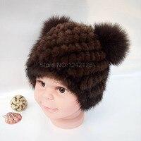 New autumn winter Parent child kids girl boy children mink fur hat cute warm real Fur Princess winter mink fox fur pompom hats