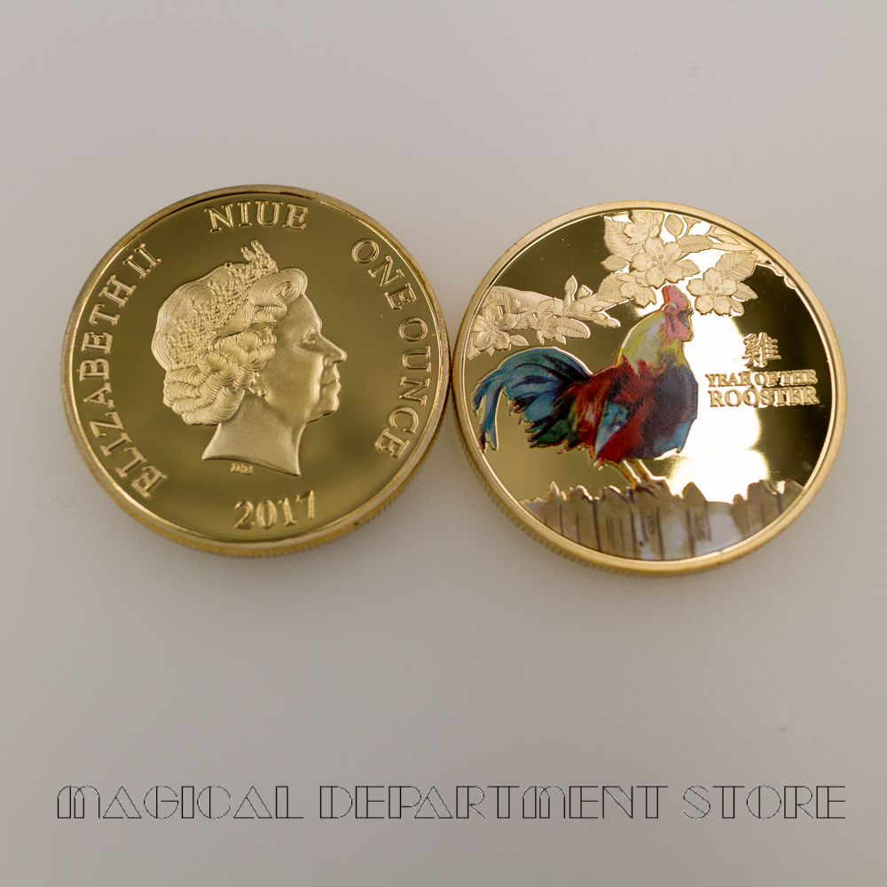 24k Pure Gold Plated Metal Coin Collectible Rooster