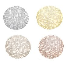 38cm Round  Dining Tableware Pad Hollow Out Flower Insulation Decorative Metallic Placemat PVC Coaster Pads Bowl Mats 4 Colors