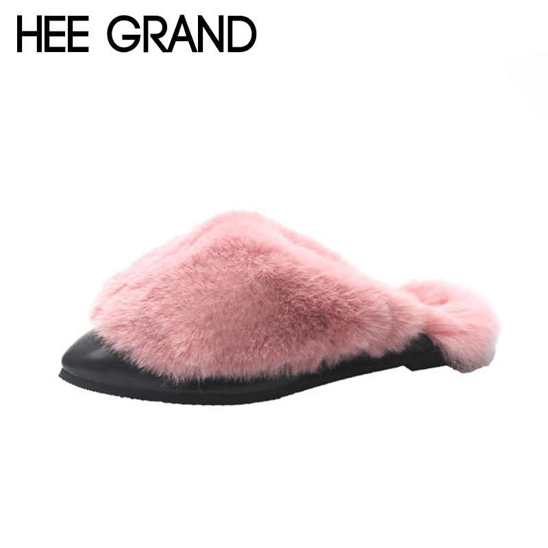 HEE GRAND Women 2018 Fashion Indoor Slippers Causal Shoes Slip on Faux Fur Warm Winter Women's Shoes Mujer Slippers XWT1433