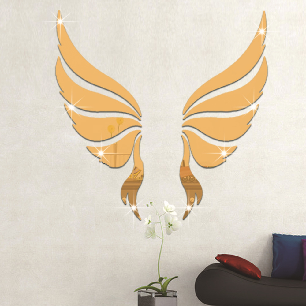 10 Pcs/Set 3D Acrylic Mirror Surface Wall Sticker Angel Wing Design for Room Wall Background Decoration Golden Silver Removable