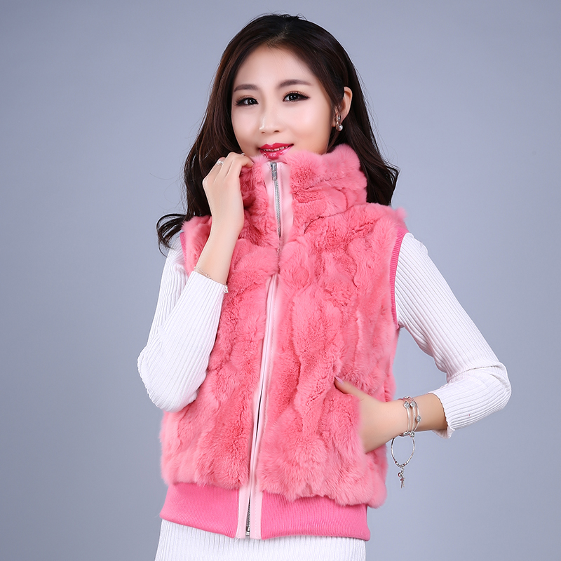 Real Fur Rabbit Korean Rabbit Fur Coat Natural Fur Vest Short Female Rabbit Vest Women Fur Coat Real