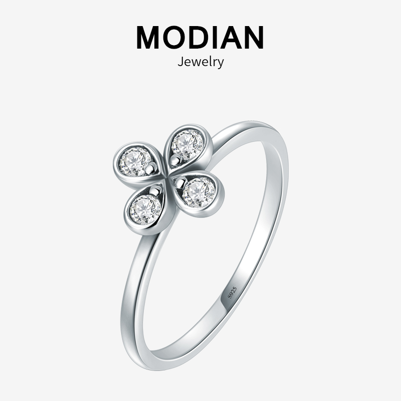 Modian Lucky Flower Clover Trendy Ring 100% 925 Sterling Silver Charm Clear CZ Stackable Finger Rings For Women Party Jewelry