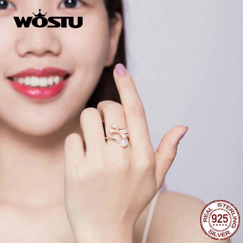 WOSTU Bowknot Pearl แหวน 100% 925 Sterling Silver Rose Gold Zircon แฟชั่นปรับแหวนสำหรับเครื่องประดับงานแต่งงานของผู้หญิง CQR552