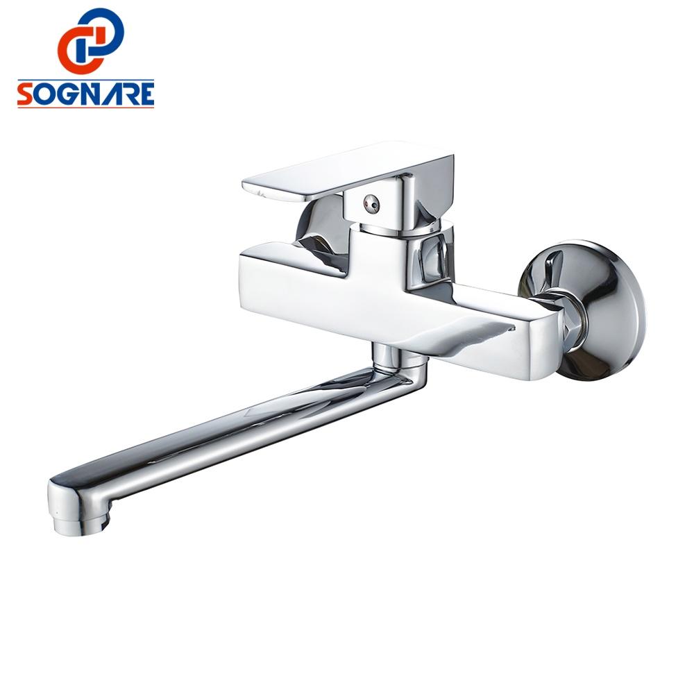 SOGNARE Wall Mounted Bathroom Shower Faucet Set 225mm Stainless Steel Long Nose Outlet Bathroom Mixer Bath Faucet Mixer Tap sognare new wall mounted bathroom bath shower faucet with handheld shower head chrome finish shower faucet set mixer tap d5205