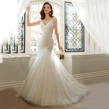 Custom Made Novia Ivory/White Satin Beading Crystal Lace Mermaid Wedding Dress Vestido De Casamento