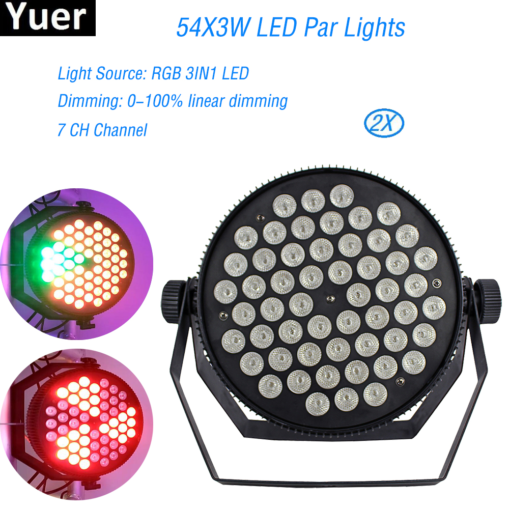 2Pcs/Lot DMX Stage Lighting Outdoor Flat Slim LED PAR Light 54X3W RGB 3IN1 Disco Dj Equipment Event Wedding Light Decoration 6pcs lot led par 84x3w rgbw light par64 rgb stage light decoration dmx wedding party bar lighting disco