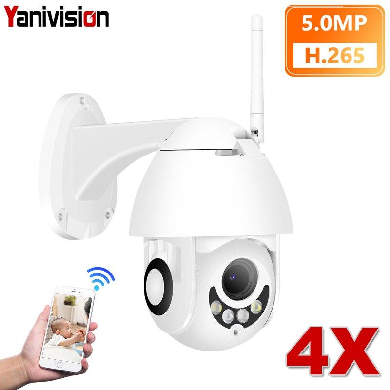 5MP 4X Zoom H.265 + ONVIF sans fil PTZ extérieur P2P dôme caméra IP WiFi détection de mouvement double lumière PTZ caméra de sécurité IP sans fil