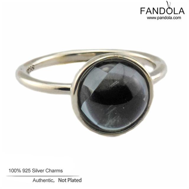 Esterlina genuina-plata-joyería poética gota anillos para las mujeres anillo de cristal anillo de plata 925 con aqua azul flr093