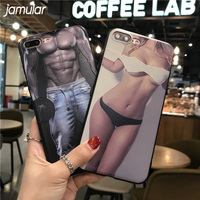 JAMULAR Muscle Man Sex Girl Phone Case For iPhone X 6 6s 7 8 Plus Covers Soft Silicone Cases For iPhone 7 Plus 5s SE Cover