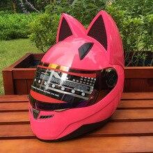 Кошачьи уши угол мотоциклетный шлем Теплый Личность мотоциклов внедорожных анти-туман все покрытые четыре сезона
