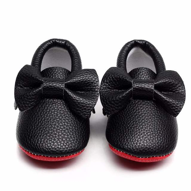 858bdb5bcc4 New Red bottoms Bow Leather shoe Newborn Baby Girl Baby Moccasins Soft boys  Shoes Bebe Fringe