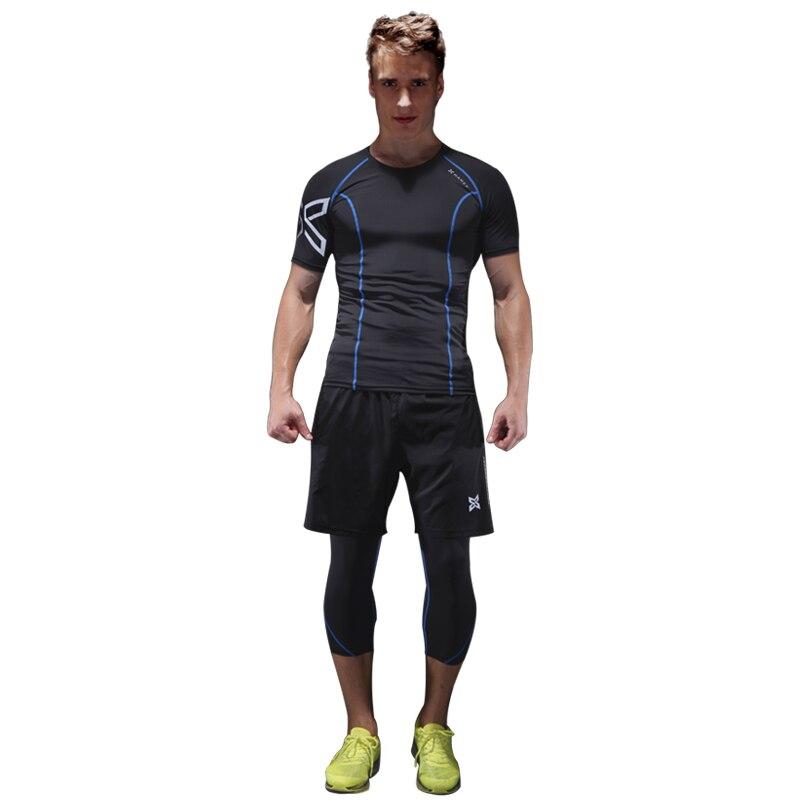 ac2f98988 Ginásio ternos de três-piece quick-secagem de manga curta calças justas dos  homens primavera verão respirável tênis de corrida ternos treino desportivo  ...
