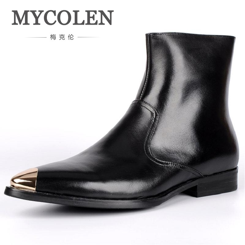 MYCOLEN New Autumn Winter British Retro Men Shoes Martin Boots Male Leather Boots England Breathable Casual Zipper Boots martin boots men s high boots korean shoes autumn winter british retro men shoes front zipper leather shoes breathable