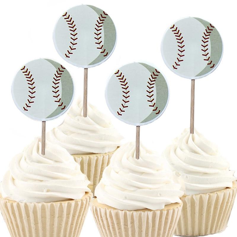 Cupcake Toppers Kids Party Birthday Cake 16 x Baseball Team Cake Picks