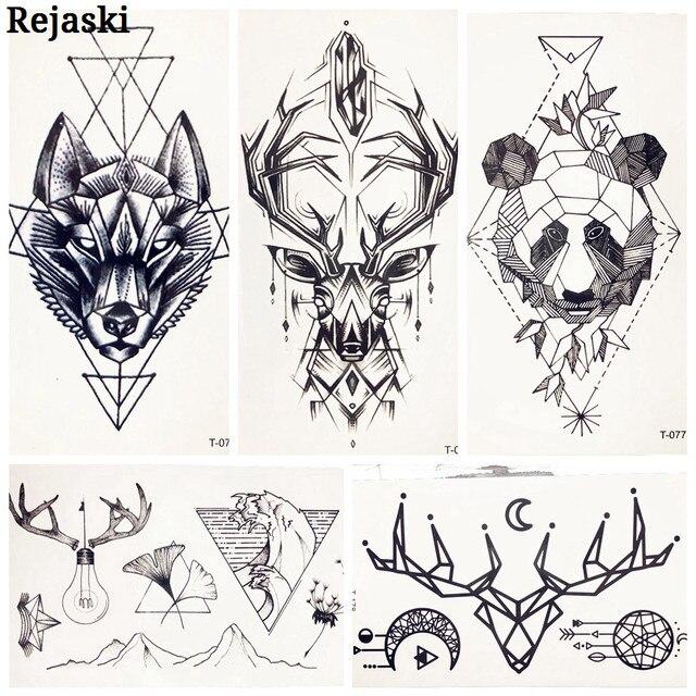 25 Patron Geometrico Ciervo Lobo Tatuaje Temporal Pegatinas Elk Horn