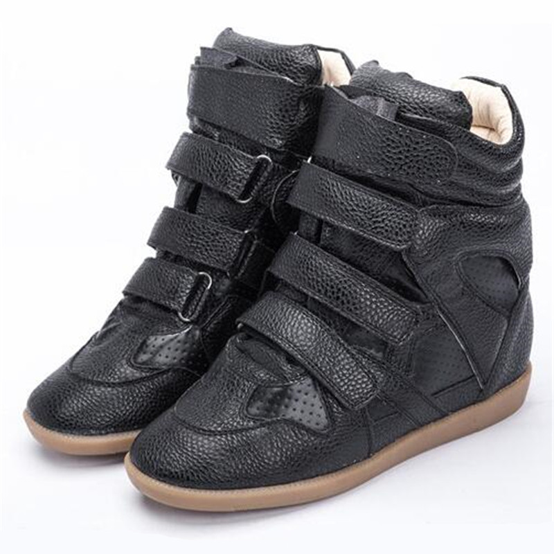 Women Boots Wedge Concealed Heel Platform Shoes Geunine Leather Ankle Boots Women Bobby Shoes Breathable Hook&Loop Boots nayiduyun women genuine leather wedge high heel pumps platform creepers round toe slip on casual shoes boots wedge sneakers