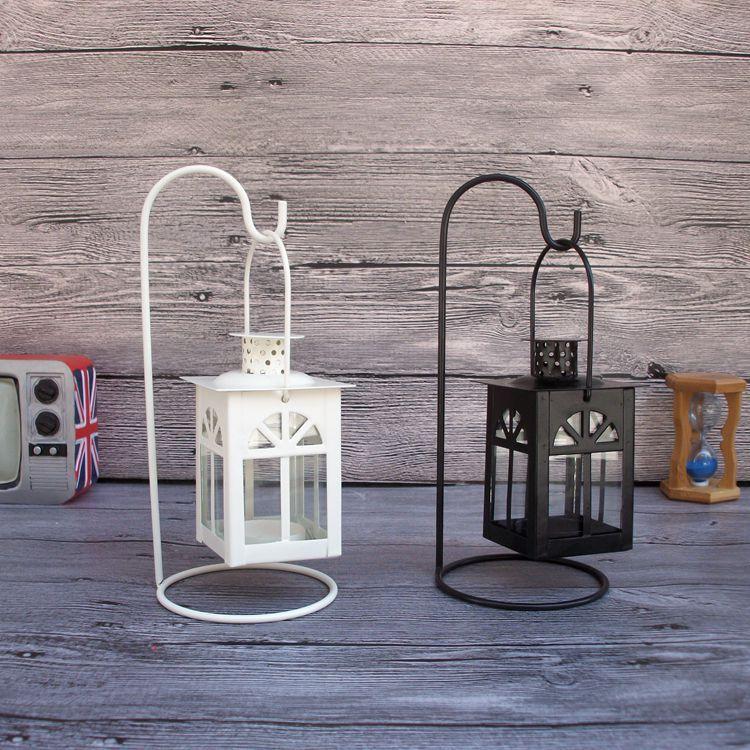 Vintage Iron House Lantern Candlestick Tea Light Holder Wedding Table Home Decor