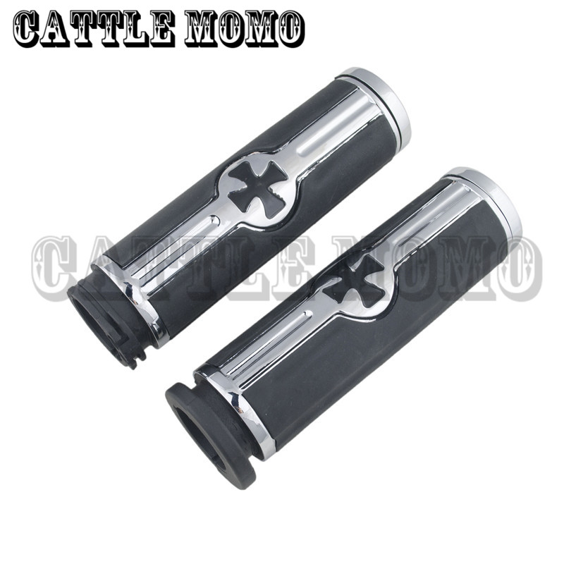1 Cross Handlebar Hand Grips For Honda Steed 400/600 VT600 SHADOW 400/750 Magna 250/750 Harley Motorcycle Grips image