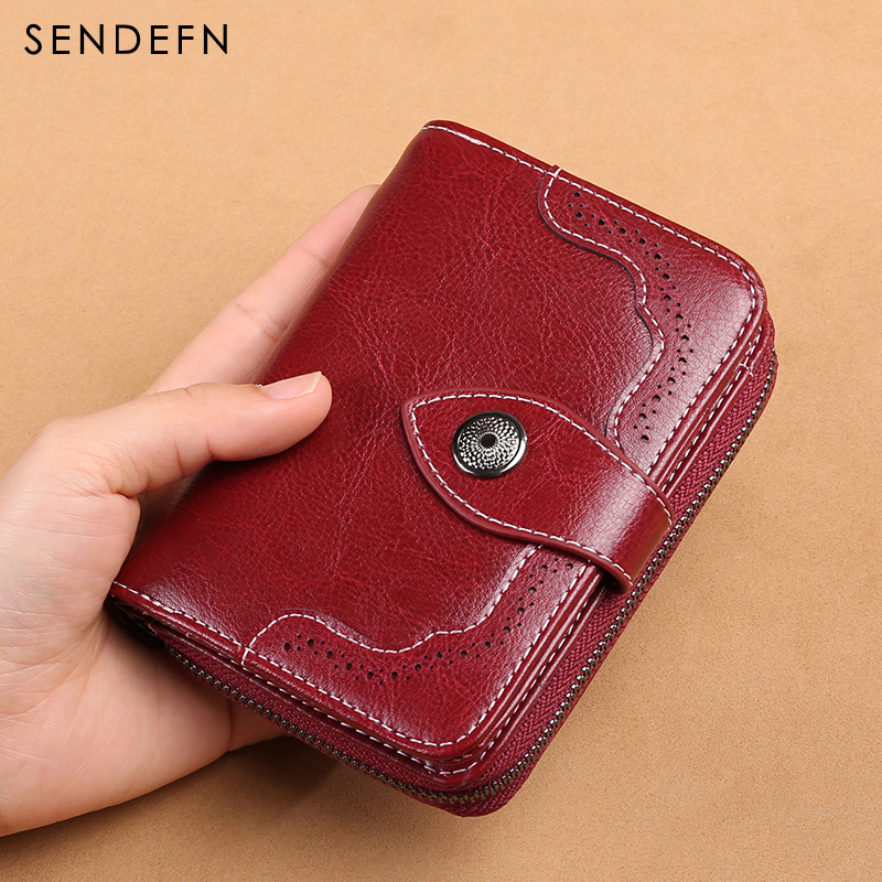 SENDEFN 2018 New Wallet Women Purse Brand Coin Purse Zipper Wallet Female Short Wallet Women Split Leather Purse Small Purse new brand colors purse plaid leather zipper wallet cards holder wallet for girls women wallet