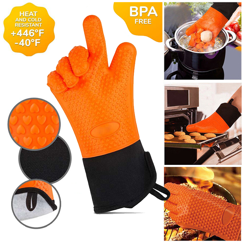 2pcs Food Grade Thick Heat Resistant Silicone Glove BBQ Grill Gloves Kitchen Barbecue Oven Cooking Mitts
