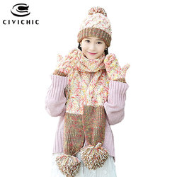 CIVICHIC Hot Fashion Woman Warm Set Knit Hat Scarf Glove 3 Piece Pompon Beanies Thick Headwear Mittens Color Mixture Shawl SH181