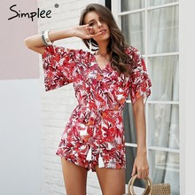 391800fb8907 Simplee Boho tropical print rompers womens jumpsuit Ruffle sleeve summer  beach playsuit Tassel drawstring v neck ethnic overalls
