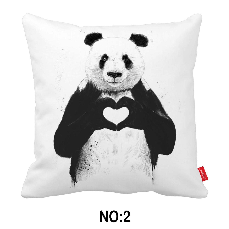 Black White Funny Panda Bulldog Dog Print Car Decorative Throw Pillowcase Pillow Case Cushion Cover Sofa Home Decor Wholesale
