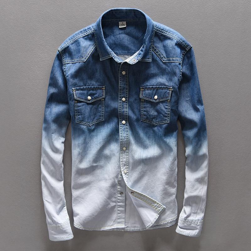 Buy 2017 slim fit denim shirts men for 100 cotton dress shirt