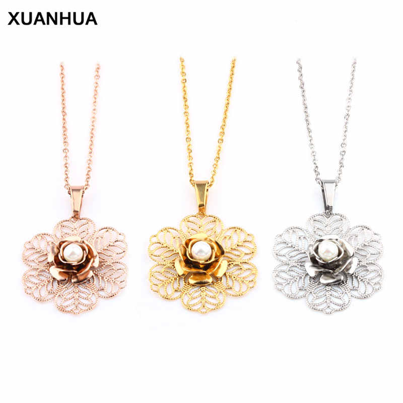 XUANHUA Stainless Steel Rose gold Pearl Necklaces & Pendants Valentines Day Gift For Women Fashion Jewelry Accessories Chocker