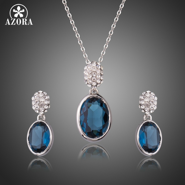 AZORA White Gold Color Geometric Jewelry Sets for Women Blue Oval Austrian  Crystal Party Wedding Earrings Necklace Set TG0234 4ef7ebcb7669