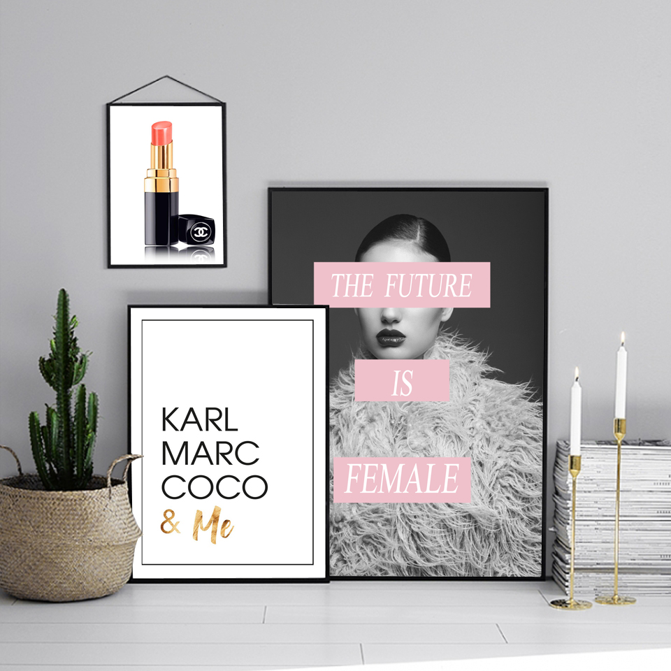 Fashion Lipstick Posters and Prints The Future is Female Girl Wall Art Pictures For Room Decor Coco Quote Canvas Print Painting