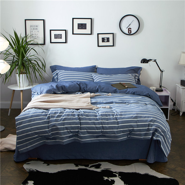 Washed Cotton Printed Striped Bedding Set Queen King Size Bedsheets