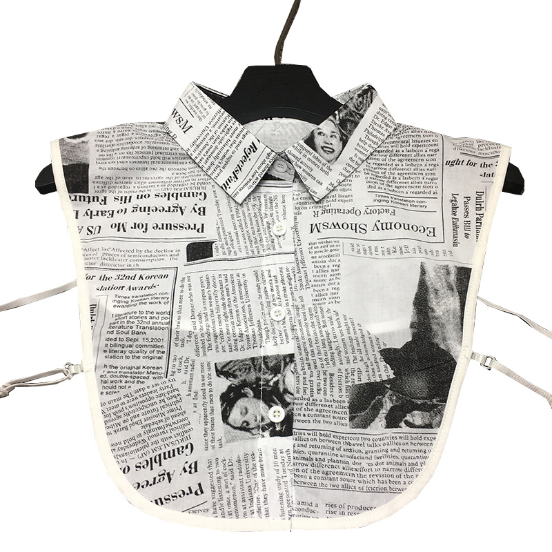 Newspaper Print Removable Collars For Women 2019 False Fake Collar Shirt Decorative Detachable Collar Party Gravatas Gifts