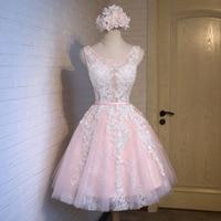 FOLOBE Women Girls Lace Dresses Elegant Vintage Applique Pleated Ball Gown Evening Party Dress Short Formal Dress