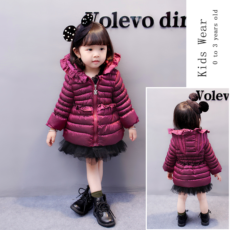 Kids Snowsuit 2017 Winter Baby Girls Winter Coat Infant Children Clothing Ruffles Collar Hooded Thick Jacket Baby Girl Clothes