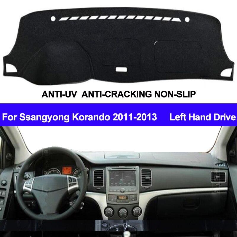 Car Dashboard Cover Dashmat For Ssangyong Korando 2011 2012 2013 Left Hand Drive ANti-UV Auto Dash Mat Sun Shade Pad Carpet