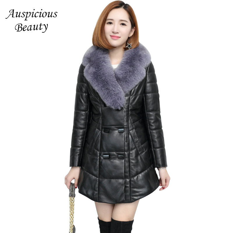 New Brand Women Winter Genuine Leather Wadded Coat Warm Jackets Real Fur Collar Sheepskin Leather Coat High Quality CXM358