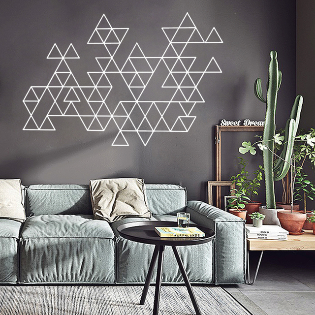 Living Room Decorative Accessories Big Lots Table Sets Creative Geometric Vinyl Wall Sticker Modern Minimalist Home Decoration Art Decal For Decor G545
