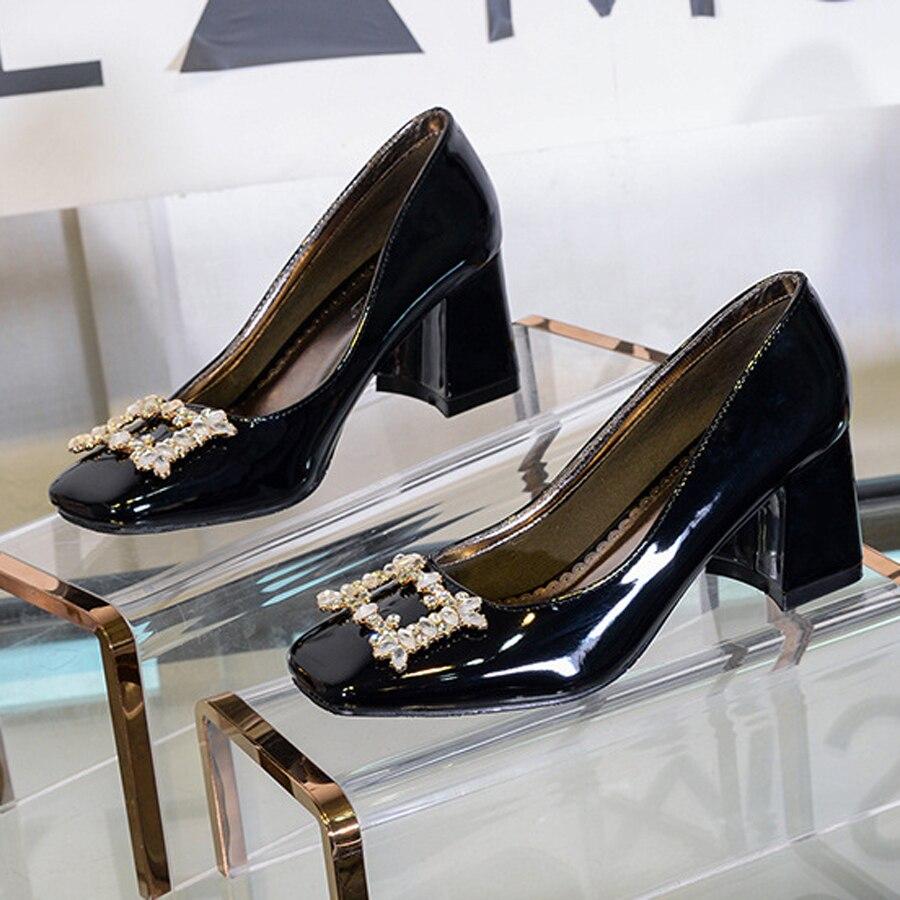 Elegantes Bombas Light De Tacones Altos Cristal Single Grueso Shoe Solo black Talones 2018 Cómodo Shoe Pink Zapatos Mujer Vestido Mujeres Charol EPqvwB