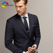 купить Custom Made Navy Blue Men Suits for Wedding Groom Tuxedo Slim Fit Best Man Blazer Jacket Pants 2Piece Costume Homme Mariage по цене 3563.24 рублей