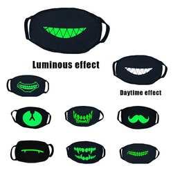 Черные толстые флуоресцентный зеленый световой маска личность смешно Хэллоуин холодной дышащий хлопок светящиеся маски