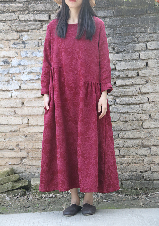 Spring New Elegant Long Floral Jacquard Ruched Women Cotton Linen Dress Autumn High Quality Dense Mid