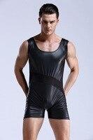 Nuevos hombres Body Jumpsuit Sexy Soft Faux Leather Body Forma La Ropa Interior de Malla Transpirable Boxeadores Y Chaleco Traje de Gimnasio Integrado