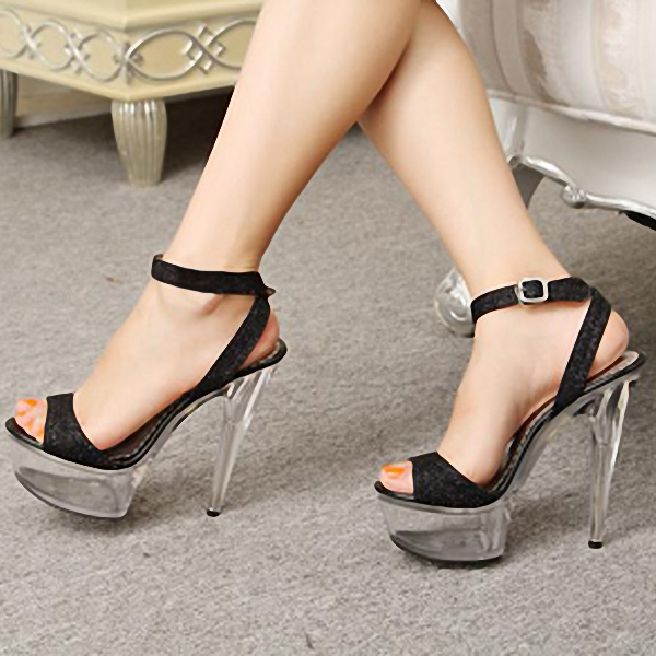 Фотография 15cm High-Heeled Shoes Sexy Sandals Glitter Paillette Performance Shoes 6 Inch Heels Crystal Womans Model Shoes