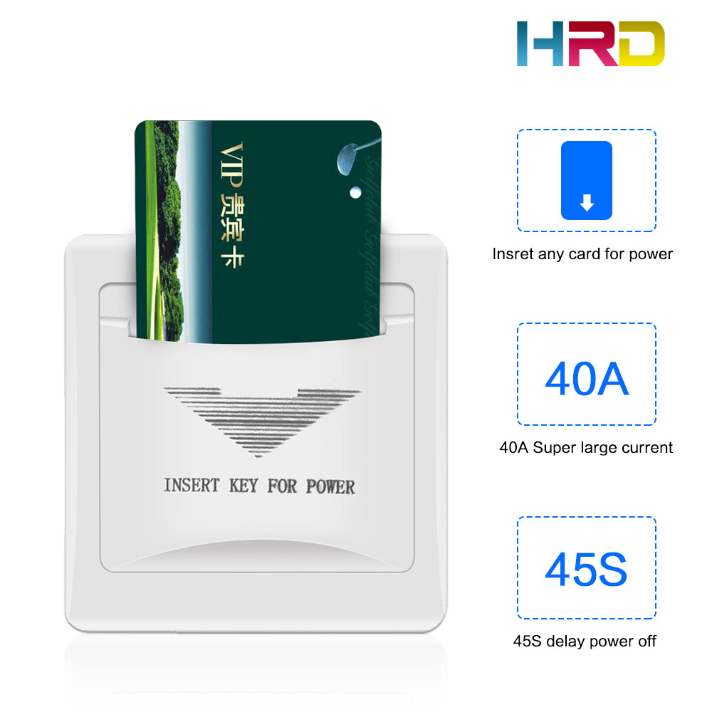 40A Hotel Wall Switch White Insert Any PVC Plastic Paper RFID 125KHz/13.56MHz Card To Take Power 45s Delay Off Guestroom Switch